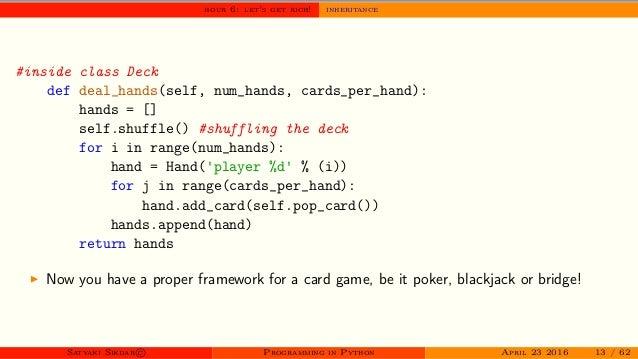 Workshop on Programming in Python - day II