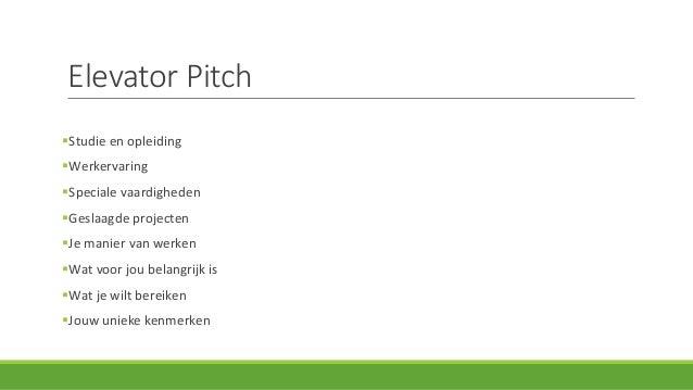 elevator pitch sollicitatie Workshop Sollicitatiegesprek | Studio Werk elevator pitch sollicitatie