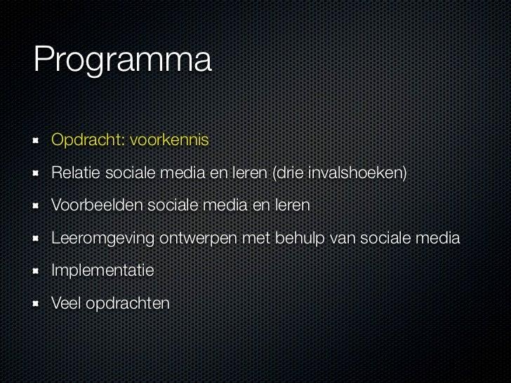Workshop SPOK sociale media en leren Slide 2