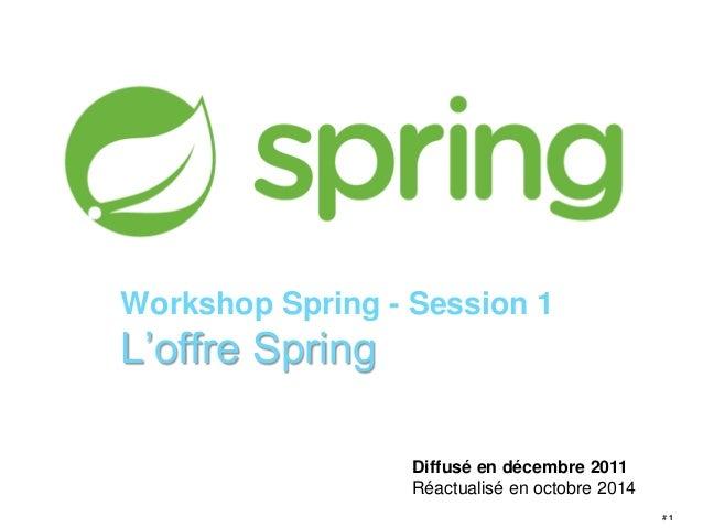 # 1  Workshop Spring - Session 1  L'offre Spring  Diffusé en décembre 2011  Réactualisé en octobre 2014