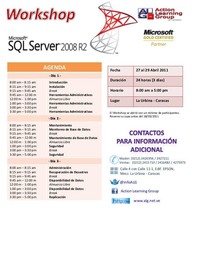 AGENDA                            Fecha              27al29Abril 2011                     ‐ Día1‐8:00 am– 8:15am  ...