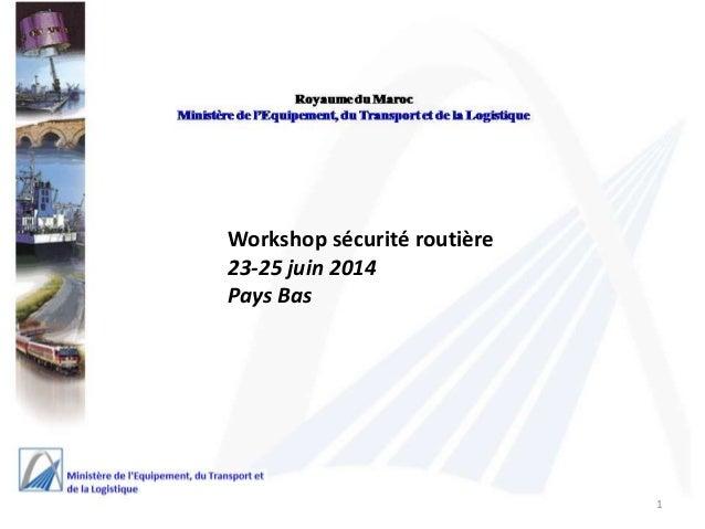 Workshop sécurité routière  23-25 juin 2014  Pays Bas  1