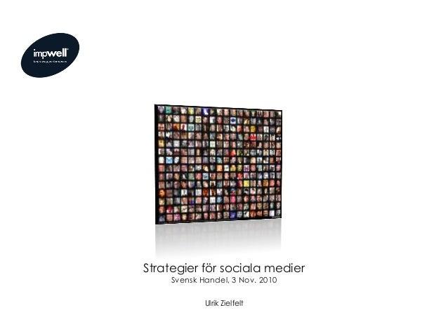 Strategier för sociala medier Svensk Handel, 3 Nov. 2010 Ulrik Zielfelt