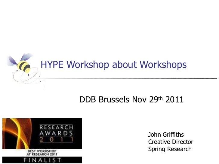 HYPE Workshop about Workshops DDB Brussels Nov 29 th  2011 John Griffiths Creative Director Spring Research
