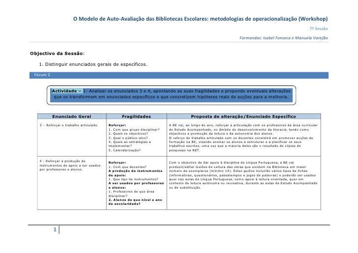 O Modelo de Auto-Avaliação das Bibliotecas Escolares: metodologias de operacionalização (Workshop)                        ...