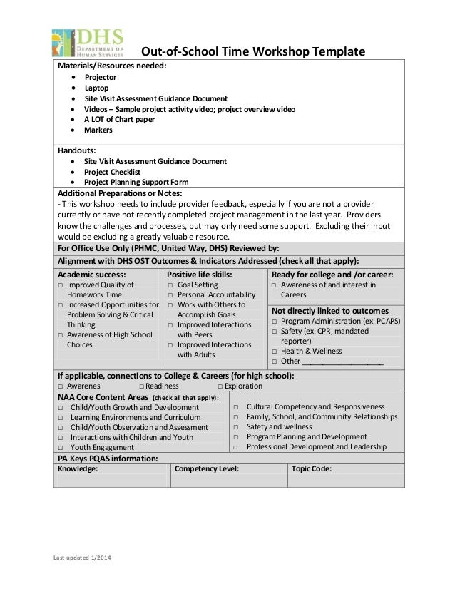 Workshop Template Structured Activities  Managing Projects