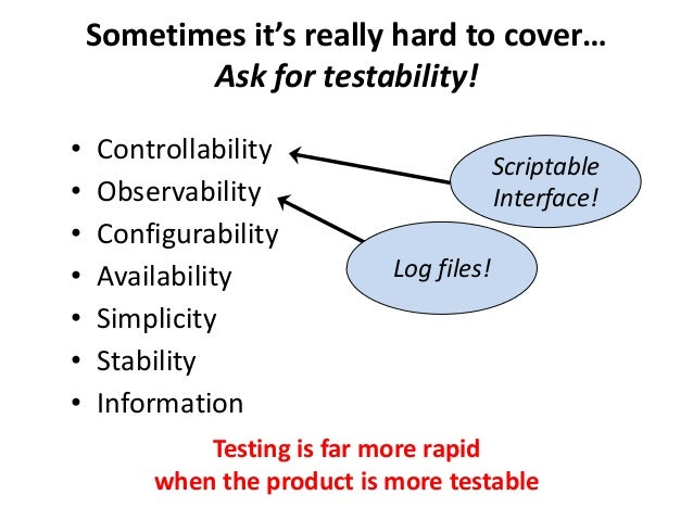 Sometimes it's really hard to cover… Ask for testability! • Controllability • Observability • Configurability • Availabili...