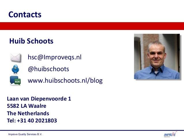 Huib Schoots hsc@Improveqs.nl @huibschoots www.huibschoots.nl/blog Contacts Laan van Diepenvoorde 1 5582 LA Waalre The Net...