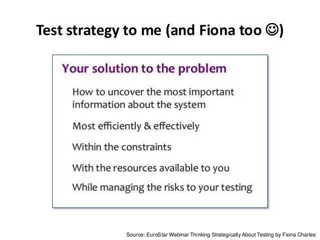 Test strategy to me (and Fiona too ) Source: EuroStar Webinar Thinking Strategically About Testing by Fiona Charles
