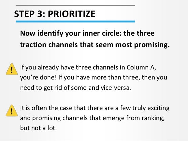 STEP 3: PRIORITIZE Now identify your inner circle: the three traction channels that seem most promising. If you already ha...