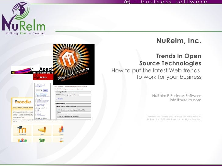 NuRelm, Inc. Trends In Open Source Technologies How to put the latest Web trends  to work for your business   NuRelm E-Bus...
