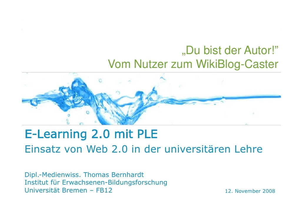 WEB 2.0   E-LEARNING 2.0   PLE   SOCIAL SOFTWARE   KONZEPTIONIERUNG                                                       ...
