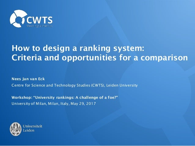 How to design a ranking system: Criteria and opportunities for a comparison Nees Jan van Eck Centre for Science and Techno...