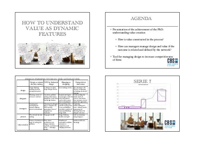 HOW TO UNDERSTAND VALUE AS DYNAMIC FEATURES AGENDA Presentation of the achievement of the PhD: understanding value creatio...