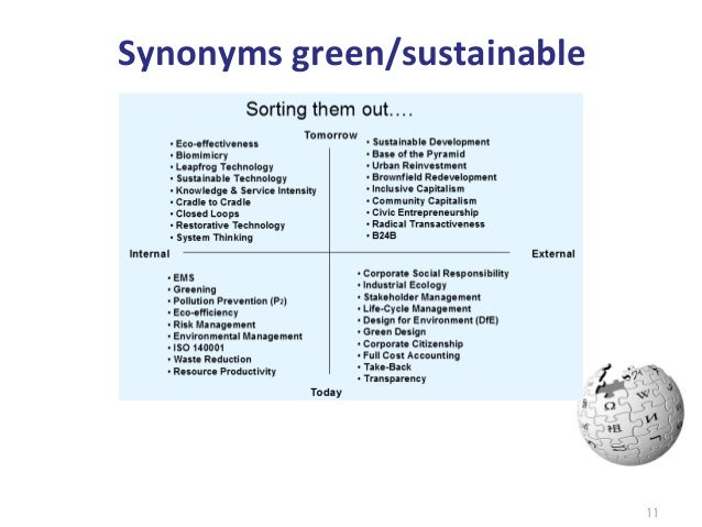 Synonyms green/sustainable                                     11