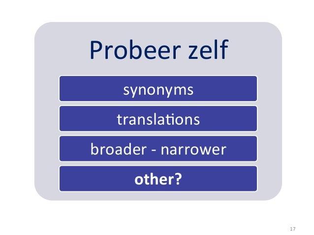 Probeer zelf        synonyms       transla5ons broader -‐ narrower            other?                   ...