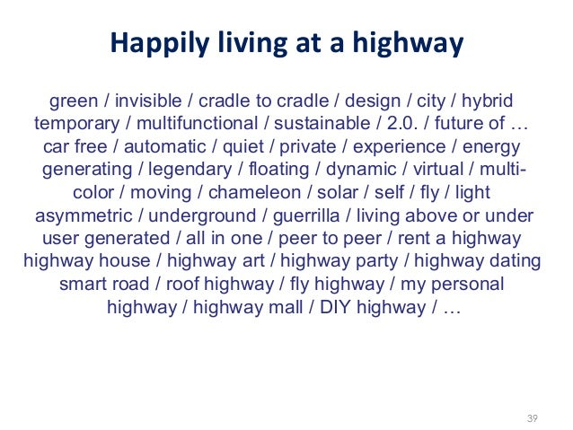 Happily living at a highway    green / invisible / cradle to cradle / design / city / hybrid temporary / multifu...