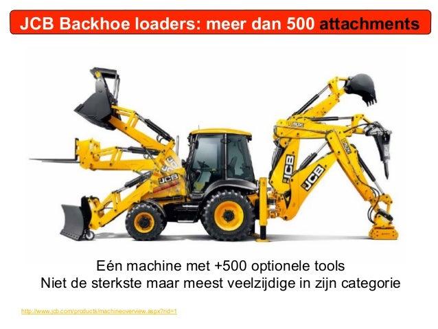JCB Backhoe loaders: meer dan 500 attachments               Eén machine met +500 optionele tools      Niet de sterkste maa...