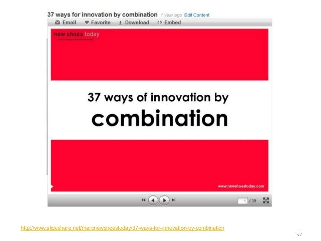 http://www.slideshare.net/marcnewshoestoday/37-ways-for-innovation-by-combination                                       ...