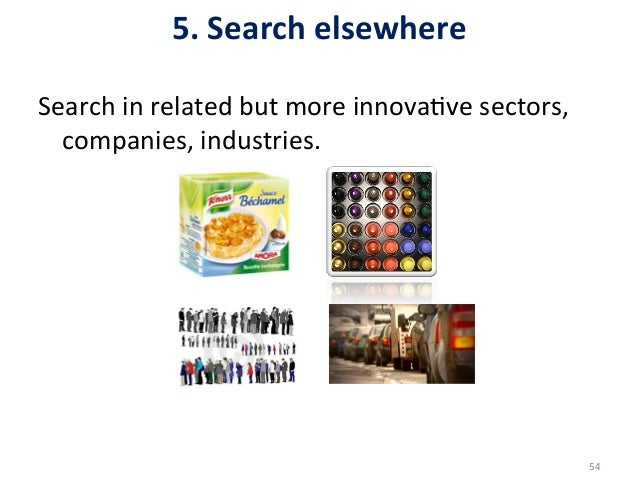 5. Search elsewhere Search in related but more innova5ve sectors,      companies, industries.  ...