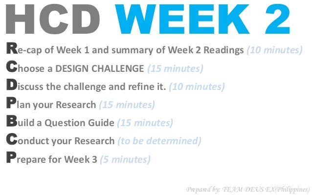 HCD WEEK 2Re-cap of Week 1 and summary of Week 2 Readings (10 minutes) Choose a DESIGN CHALLENGE (15 minutes) Discuss the ...