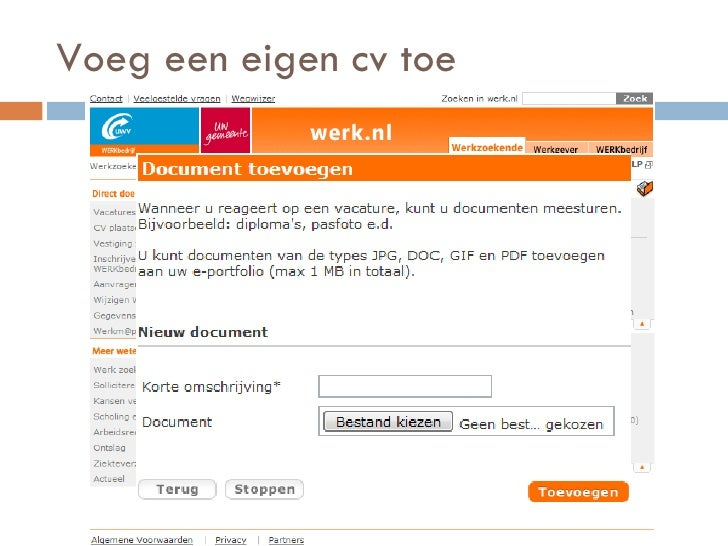 voorbeeld cv werk nl