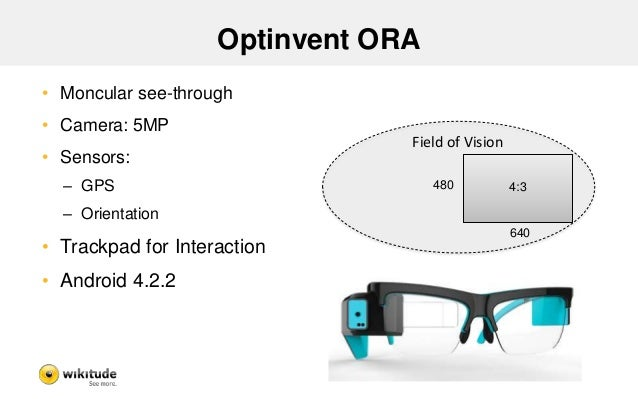 Optinvent ORA - Findings  • Still in development  – No Consumer Version available  • Android SDK  • Allows real AR  – Also...