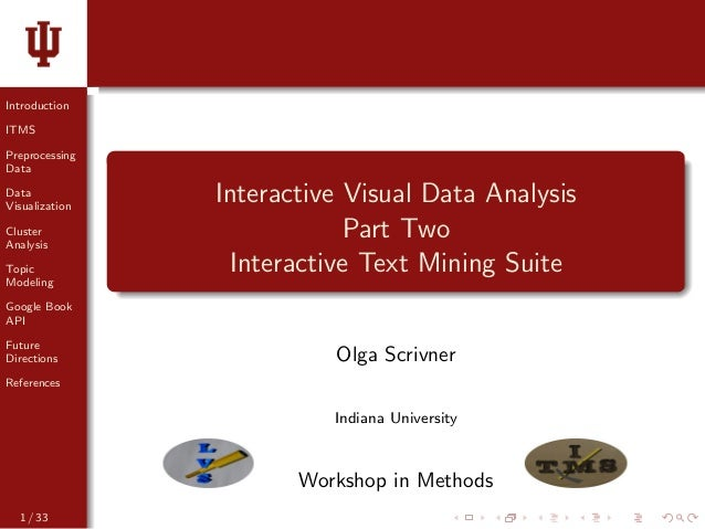 Introduction ITMS Preprocessing Data Data Visualization Cluster Analysis Topic Modeling Google Book API Future Directions ...