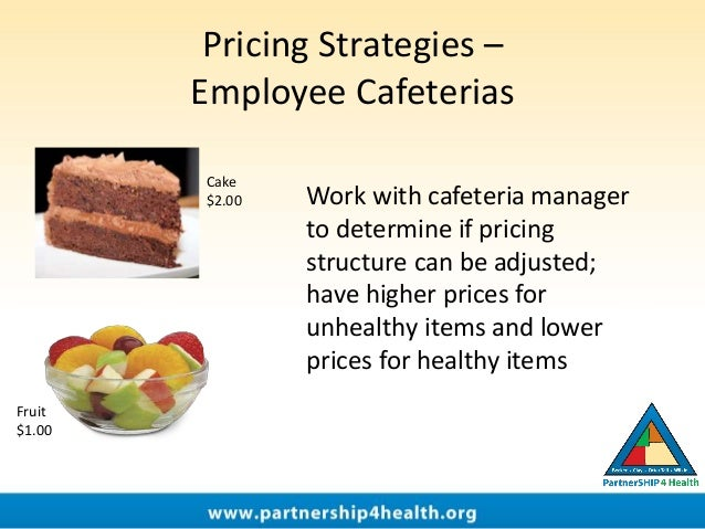 Pricing Strategies – Employee Cafeterias Work with cafeteria manager to determine if pricing structure can be adjusted; ha...