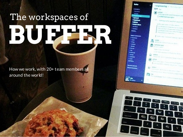The workspaces of  BUFFER  How we work, with 20+ team members all  around the world!