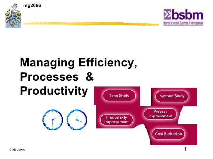 Managing Efficiency, Processes  & Productivity