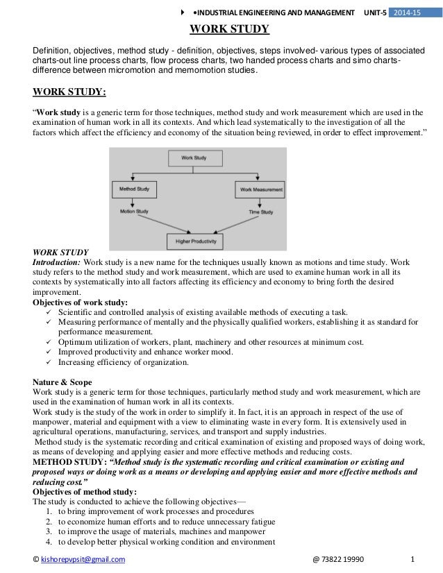 Work Study: Definition, Role and Objectives