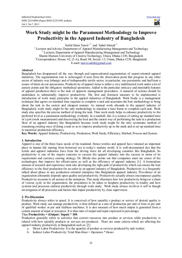 Industrial Engineering Letters www.iiste.org ISSN 2224-6096 (Paper) ISSN 2225-0581 (online) Vol.3, No.7, 2013 51 Work Stud...