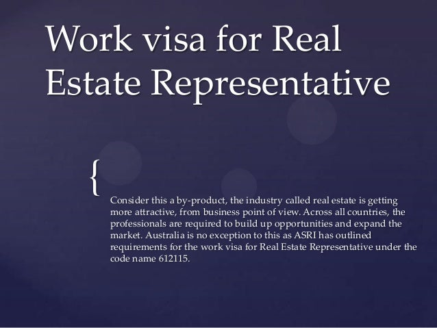 Work visa for real estate representative Slide 2