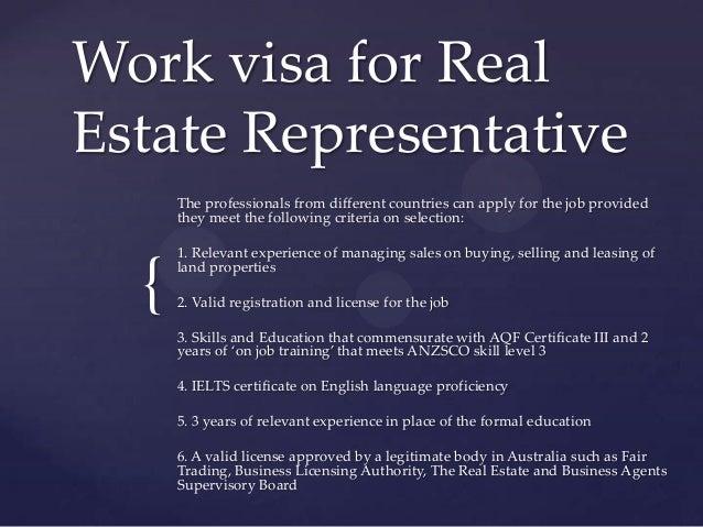 Work visa for real estate representative Slide 3