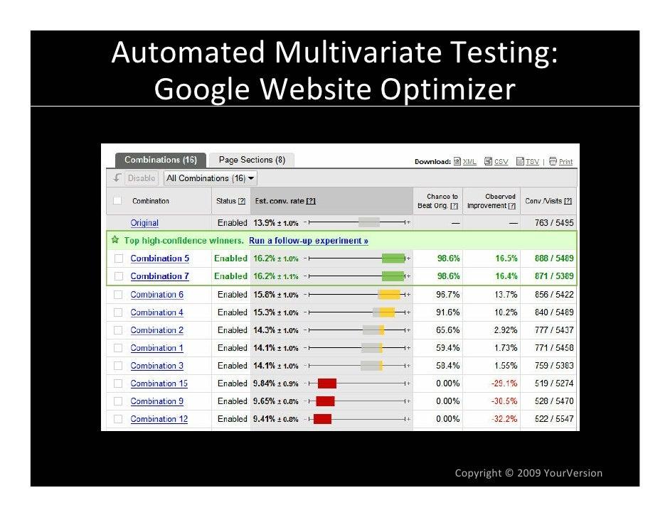 AutomatedMultivariateTesting:   GoogleWebsiteOptimizer                            Copyright© 2009YourVersion