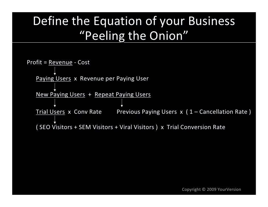 "DefinetheEquationofyourBusiness           ""PeelingtheOnion"" Profit=Revenue ‐ Cost     PayingUsers xRevenueper..."