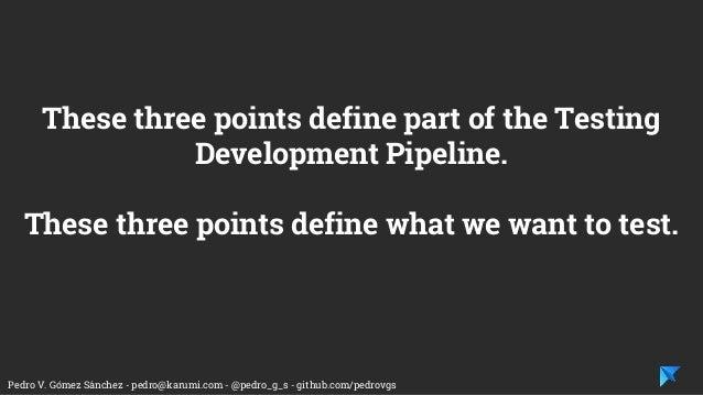 Pedro V. Gómez Sánchez - pedro@karumi.com - @pedro_g_s - github.com/pedrovgs These three points define part of the Testing...
