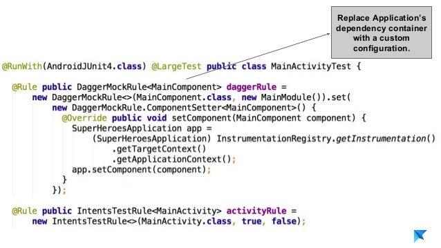 Pedro V. Gómez Sánchez - pedro@karumi.com - @pedro_g_s - github.com/pedrovgs Replace Application's dependency container wi...