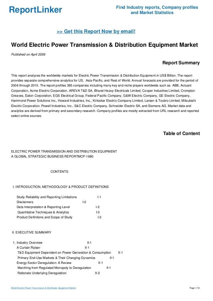 World Electric Power Transmission & Distribution Equipment