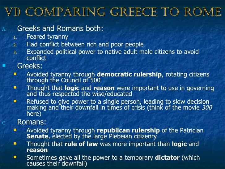 Compare and contrast greek and roman government