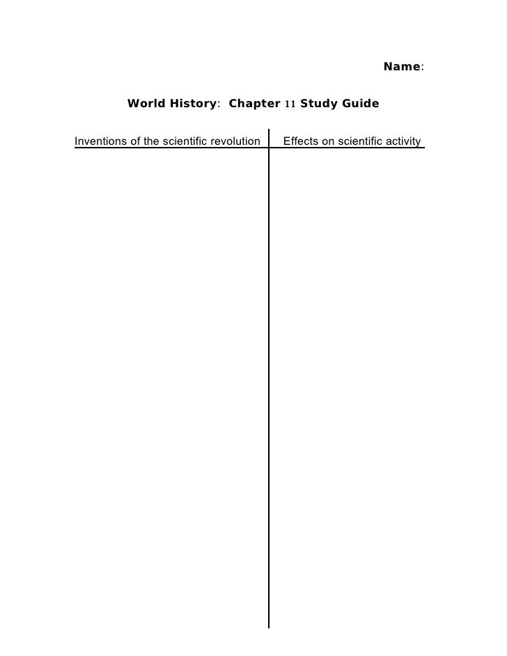 Name:              World History: Chapter 11 Study Guide   Inventions of the scientific revolution   Effects on scientific...