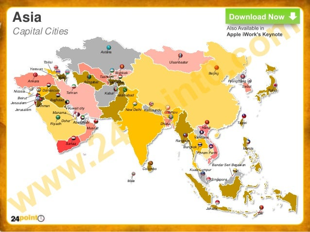 World map ppt easy to edit powerpoint world map 10 asia capital gumiabroncs Gallery