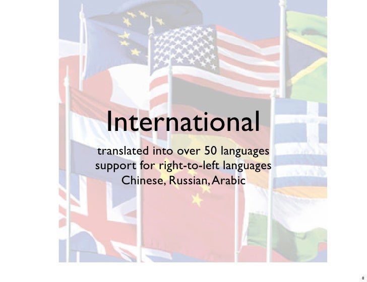 International translated into over 50 languages support for right-to-left languages      Chinese, Russian, Arabic         ...