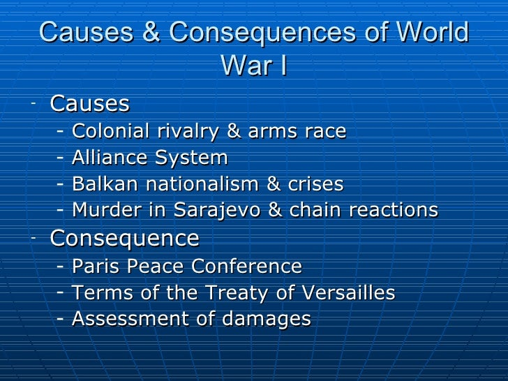 the causes and effects of world war i Countless books have been written since about the causes of the great war, but  in this video essay, delvetv offers an alternative history.