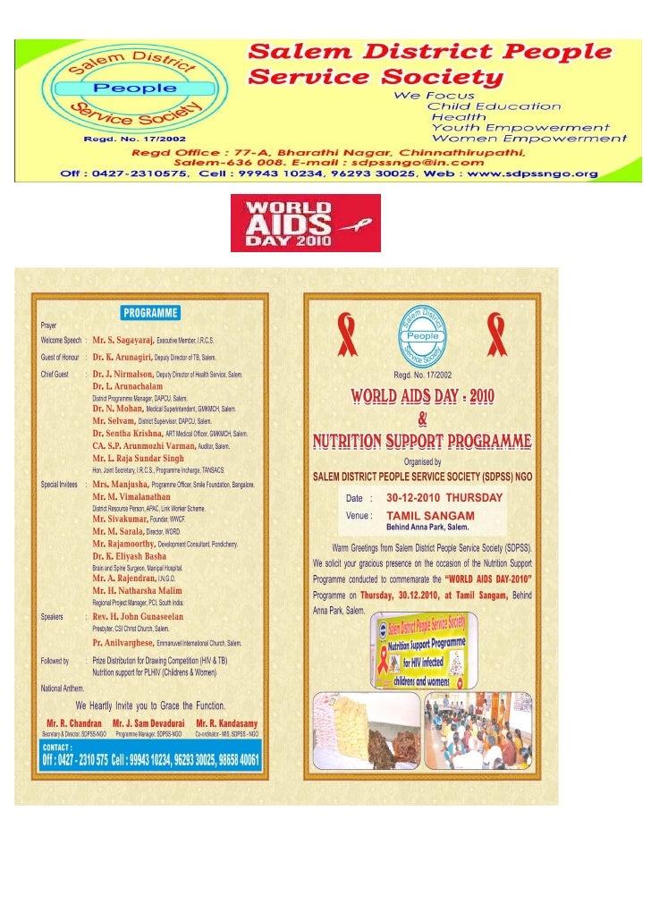 Programme                          Activities                         Program me Area   HIV/AIDS Awareness      Through   ...