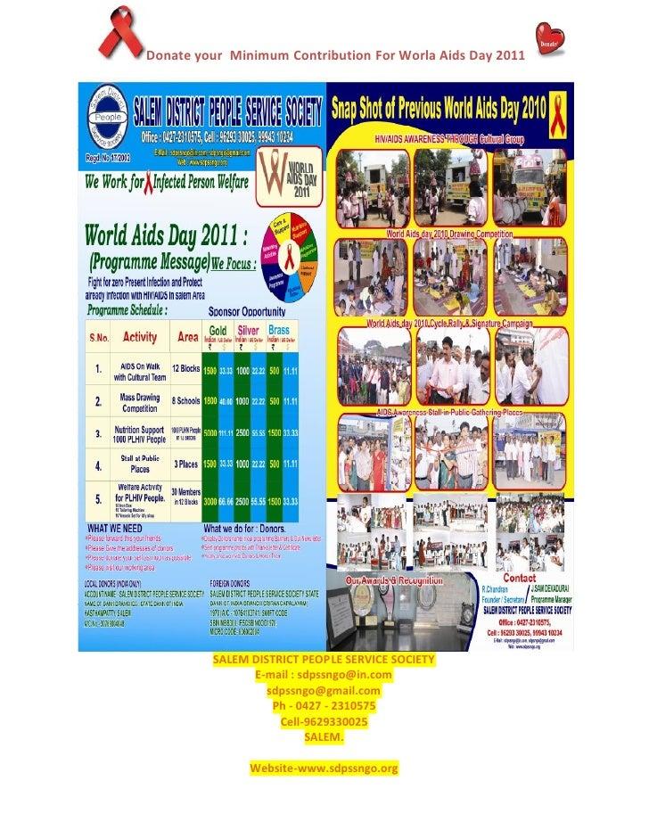 SDPSSNGO World aids day 2011, donation flyr