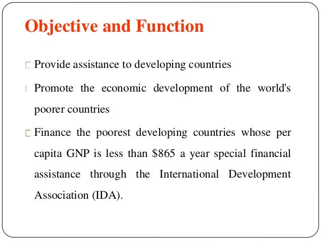 objectives and functions of world bank