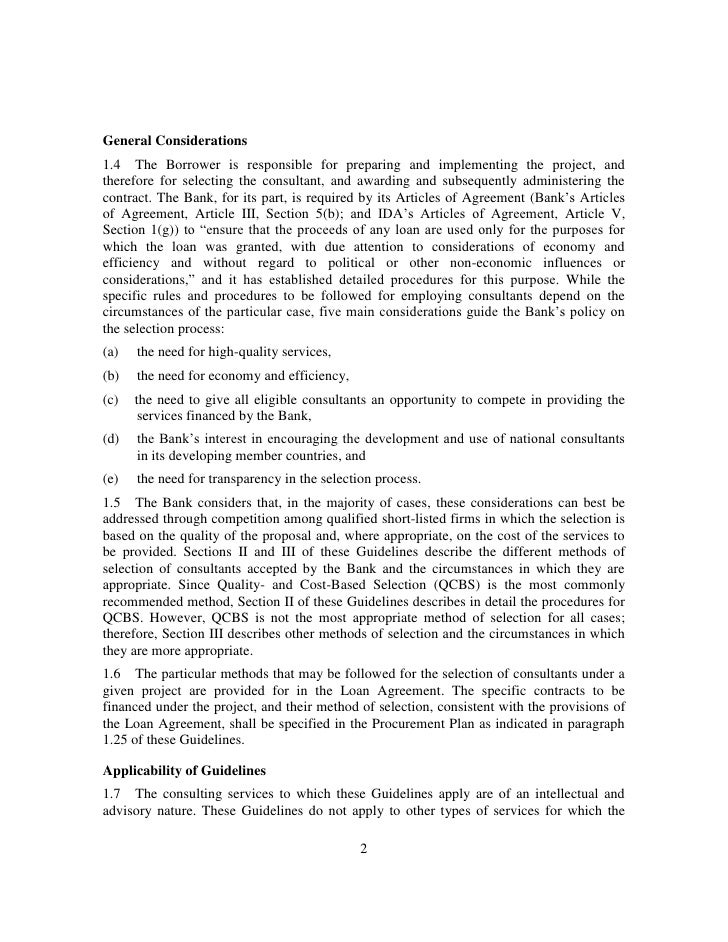 Guidelines Selection And Employment Of Consultants Under Ibrd Loans A