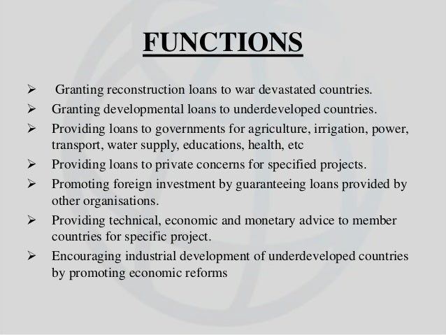 what is world bank and its functions